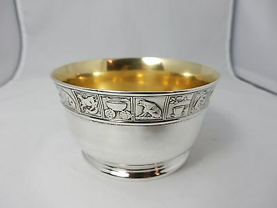 RARE sterling silver Gorham child's bowl with cast and applied nursery rhyme rim