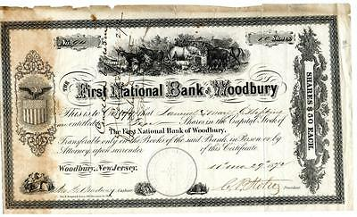 1872 First National Bank of Woodbury New Jersey Capital Stock Certificate
