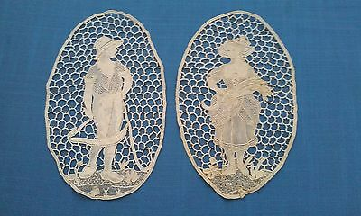 2 Exquisite Vintage Figural Needle Lace Insertions doily Man Woman Harvesters