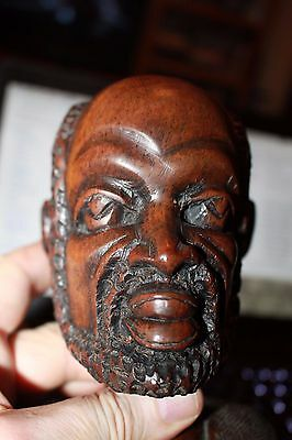 """Large 8.5"""" carved figure of African bust of bearded man mid-century great art!"""