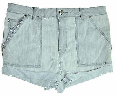 FREE PEOPLE 4555 Size 31 Womens NEW Grey Solid Denim Shorts Pants 5-Pockets