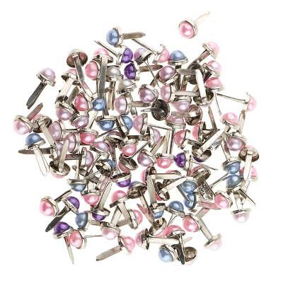 200x Pearl Head Iron Brad Paper Fastener Decorative Brads Scrapbooking Craft