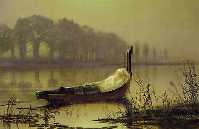Huge oil painting John Atkinson - Nice young girl sleeping on canoe on the river