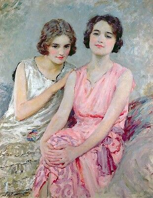 Wonderful huge Oil painting portraits two young twins girls sisters seated 36""