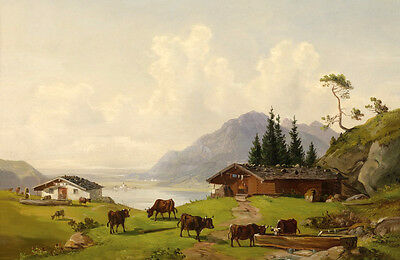 Handpainted Oil painting cows cattles drinking in summer sunset landscape canvas