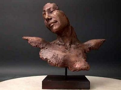 Modern Art Abstract Sculpture Lady Mask Elegant Real Bronze Polished wood base