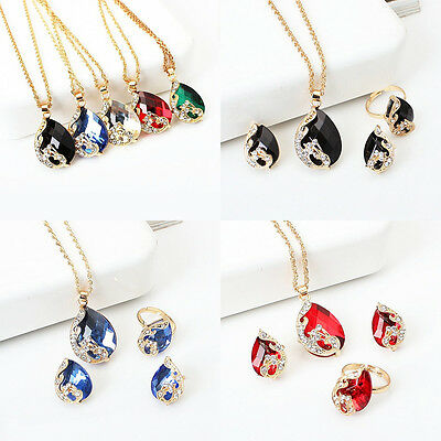 Women Crystal Peacock Pendant Necklace Earrings Ring Vogue Jewelry Set