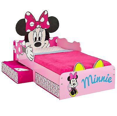 Minnie Mouse Toddler Bed With Underbed Storage Kids Girls + Mattress Options
