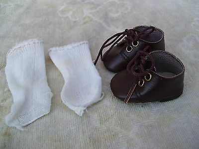 Alte Puppenkleidung Schuhe Vintage Brown Laced Shoes Socks 40 cm Doll 5 1/2 cm