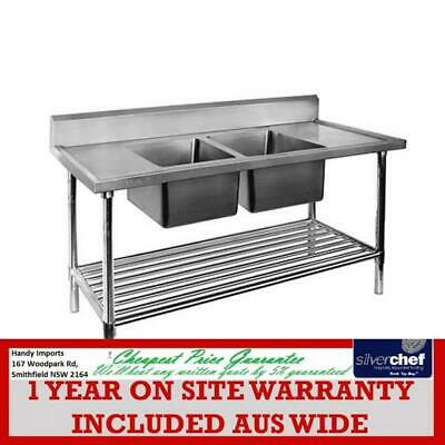 Fed Commercial Double Middle Centre Sink Ss Stainless Steel Bench Dsb6-1500C/A