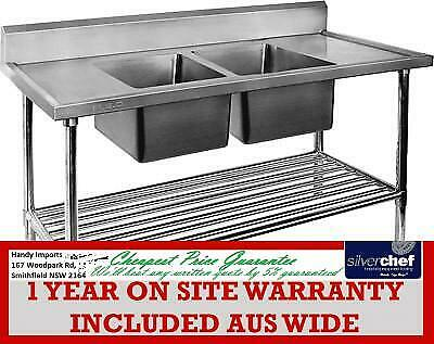 Fed Commercial Double Middle Centre Sink Ss Stainless Steel Bench Dsb-7-2400C