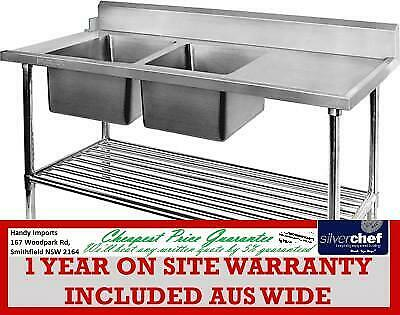 Fed Commercial Left Inlet Dish In Double Sink Dishwasher Ss Bench Dsbd-7-2400L