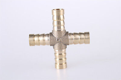 4 Way Cross Shaped 10mm Tube Hose Barb Connector Pipe Fittings