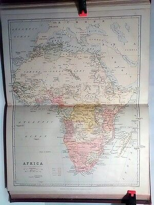 1890 Antique Original Encyclopedia Colour Print Plate Map Of Africa