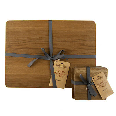 Set of 4 Heritage Wooden Placemats and Coasters Full Set for Dining Table
