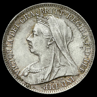 1900 Queen Victoria Veiled Head Silver Sixpence, A/UNC #2
