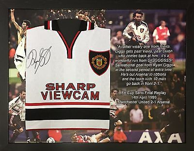 Framed Manchester United Ryan Giggs Signed 1999 Football Shirt With Proof & Coa