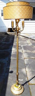 30's Rembrandt Art-Deco Floor Lamp Marble on Base Two-Tier Glass Torchiere Shade
