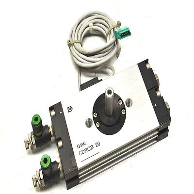 SMC CDRQB 20 Pneumatic Rotary Actuator w/ (2) D-F79 Sensor Switches