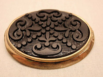 Antique Mourning Pin Victorian Gutta Percha Gold Oval Setting Brooch Collar