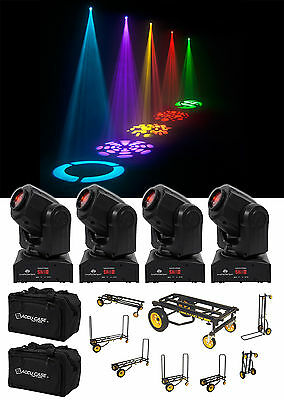 (4) American DJ ADJ Inno Pocket Spot Moving Head DMX Lights+Bags+Transport Cart