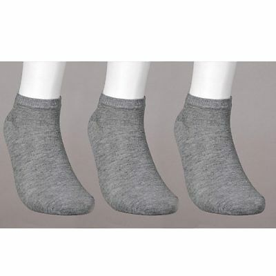 3 Pack Ankle Socks Cotton Mens Womens Size 10-13 Low Cut Crew Stretch Sport Grey