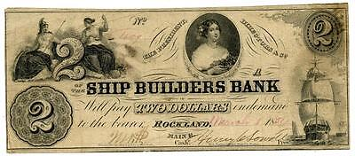 RARE 1854 $2 Ship Builders Bank ROCKLAND Maine ME Obsolete Banknote High Grade