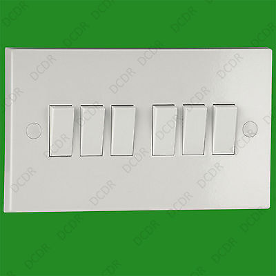 1x 10A 6 Gang 2 Way Mains Wall Lighting Light Lamp Switch With Screws & Caps