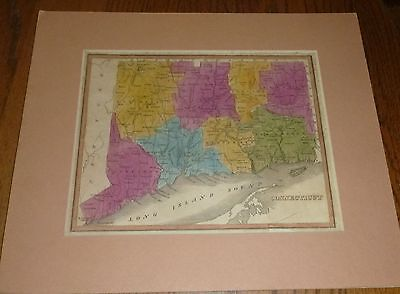 ANTIQUE 1839  CONNECTICUT MAP RARE from John Barber Historical Collections