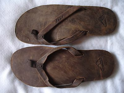 Reef Men Flip Flop New Size 11 Brown Leather Sandal Shoe Shoes