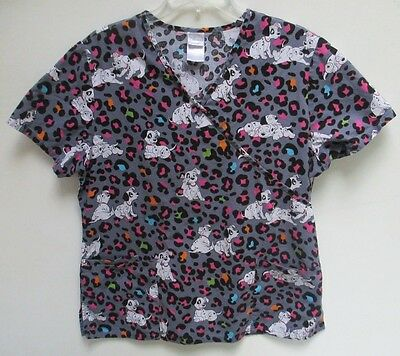 Women's Large Disney 101 Dalmations Scrub Top Shirt - Gray ~ EUC