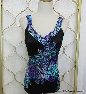 Vintage Maxine of Hollywood Swimsuit One Piece Black Floral V-Neck Pin-Up S