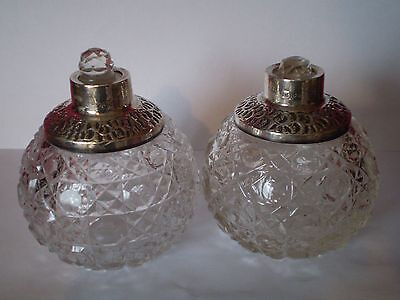 Antique Pair Of Hob Nail Glass & Silver Perfume Bottles