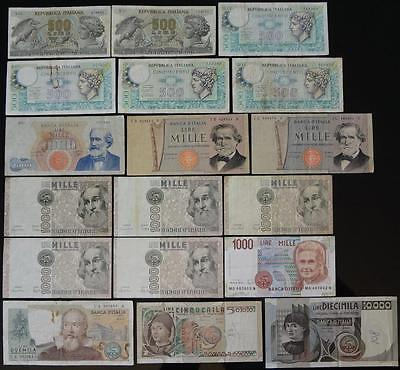 1962-1990 ITALY, 500 to 10000 LIRE, LOT OF 18 NOTES, TOTAL FV 29,000 LIRE
