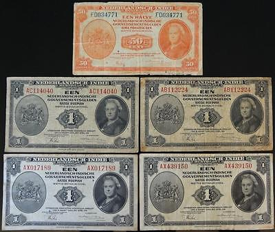 1943 Netherlands Indies, Lot Of 5 Notes, 50-Cents & 1-Gulden