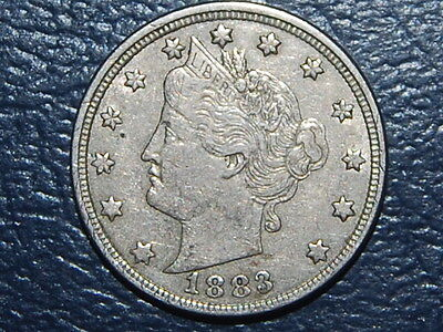 1883 Liberty V Nickel Rare Full Liberty Coin AU  (563)
