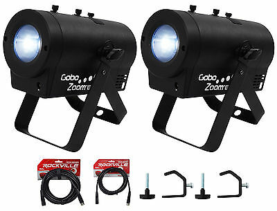 (2) Chauvet DJ Gobo Zoom USB Custom Gobo Projector Lights+10 Gobos+Clamps+Cables