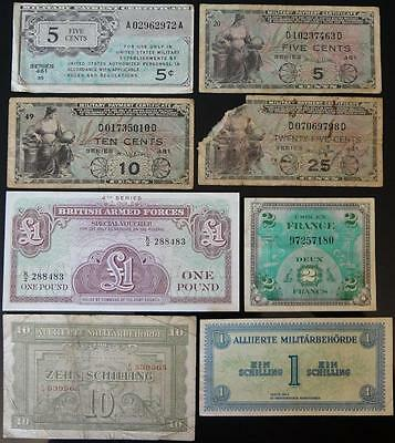 Military Lot Of 8 Different Notes, Usa / Uk / Austria / France