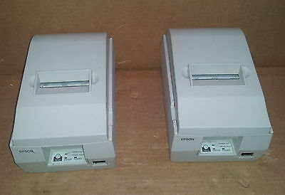 Two Epson TM-U200D POINT OF SALE POS RS232 THERMAL RECEIPT PRINTER w/ AC adapter