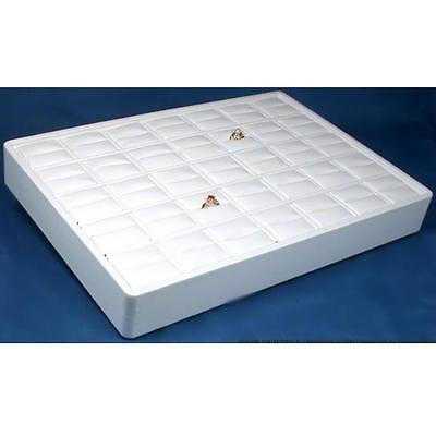 35 Slot White Faux Leather Ring Display Tray