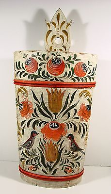 Early 1900's German Bavaria Tall Wooden Umbrella Or Other Use Stand. H. Painted
