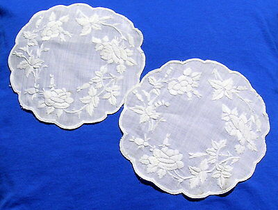 2 Antique Vintage Hand Embroidered Doily Roses Medium