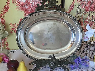 Antique Silver Plated Tarnished Serving Plate Platter Roberts & Hall Sheffield