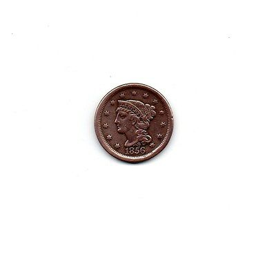 1856 Us Braided Hair 1 Cent Coin. Large Copper Penny