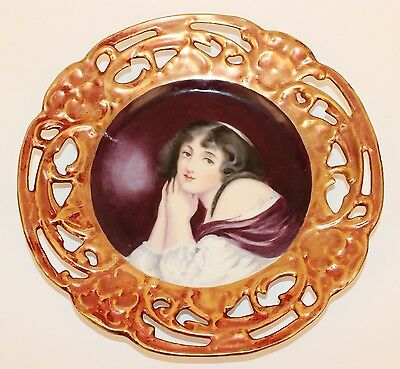 Antique Art Nouveau German Porcelain Lady Portrait Plate Reticulated Border