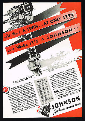 1936 Johnson Seahorse Twin Outboard Boat Motor Vintage Print Ad