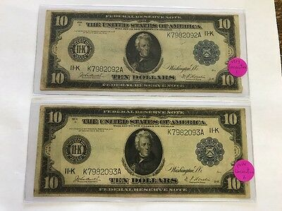 2 Consecutive 1914 $10 Wash DC FR 906 Federal Reserve Very Fine