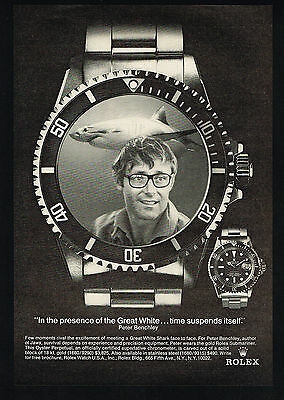 1975 Rolex Submariner Watch Jaws Great White Shark Photo Benchley Vintage Ad