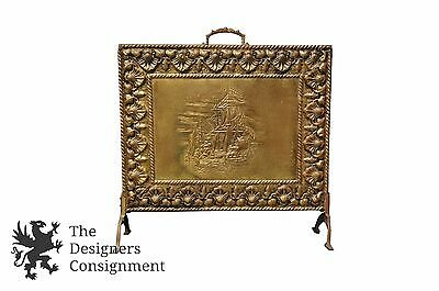 Brass Embossed Maritime Nautical Fireplace Screen Guard Stand Sailing Ship Mid C