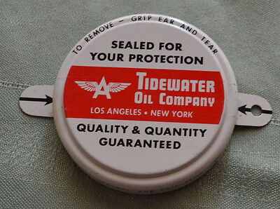 """Tidewater Associated Oil Company , Oil Bottle """"LID"""" Flying A, Never Used w/Tabs"""